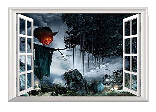 (Wandsticker Stereo 3D Gefälschtes Fenster Friedhof Vogelscheuche Aufkleber Wohnzimmer Schlafzimmer Dekoration)