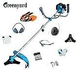 Greenyard Desbrozadora de Gasolina 2 en 1, 51.7CC, 2.3KW + Orejeras