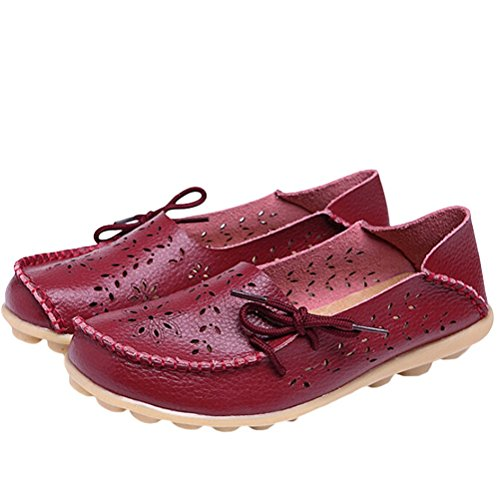 Vogstyle Moccasin Femme Casual Plat Tout-match Chaussures 33-43 Style-2 Vineux