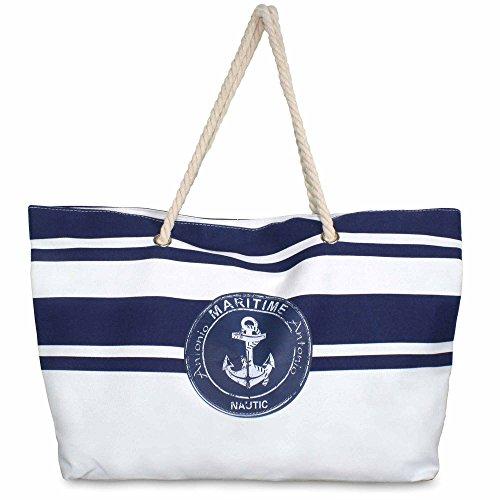 MC-Trend XXL Strandtasche 60 x 16 x 38 cm Strand Tasche Beach Bag Shopper marine Streifen maritim blau Groß Big für Sommer Sonne Strand oder stylischem Shopper -
