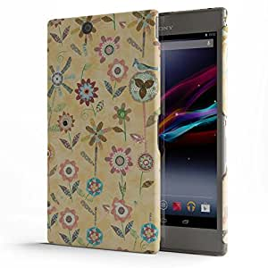 Koveru Designer Printed Protective Snap-On Durable Plastic Back Shell Case Cover for SONY XPERIA Z Ultra - Raining Flowers Butter