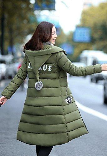 Bigood Femme Manteau Hiver Doudoune Blouson Chaud Veste Longue Avec Capot Slim Vert