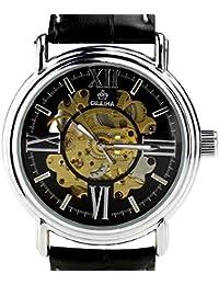 Orkina Reloj de pulsera con correa de piel negra y esfera mecánica transparente para hombre