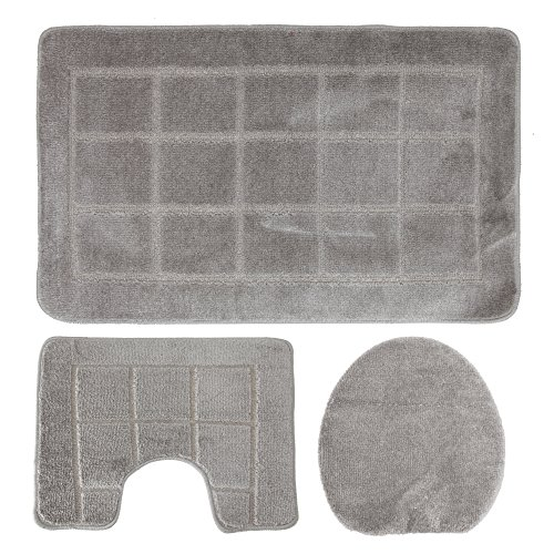 Casual Home Badteppich (Eurobano 3-teiliges gemusterte Badezimmer Set (60cm x 100cm) (Grau))