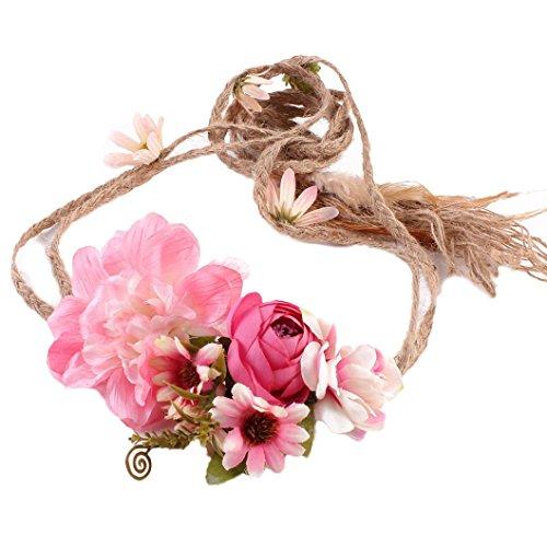 Coloré(TM) Fleur Couronne Bandeau Floral Guirlande Couronne Accessoires à Cheveux pour Mariage Festival Partie Voyage (A)