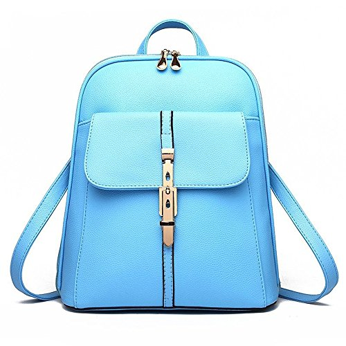 U-shot zaino scuola per ragazze, in stile casual a tinta unita, in finta pelle Blue