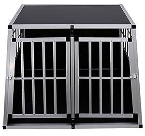 Cage De Transport Pour Chien En Aluminium Avec Cloison DÉmontable Xxl Noir 104x91x69cmneuf 33