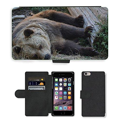 Just Mobile pour Hot Style Téléphone portable étui portefeuille en cuir PU avec fente pour carte//m00139627veille Orso Zoo animaux Animal Hairy//Apple iPhone 6Plus 14cm