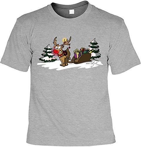 T-Shirt - Rentier Rudolf mit Weihnachtsmann Schlitten Shirt Farbe grau - Weihnachtsshirt als Outfit für die Festtage
