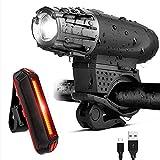 Allright LED Fahrradlampe Set Wasserdicht Vorderlicht Rücklicht Fahrrad Beleuchtung Fahrradlicht USB Aufladbare Fahrradlichter
