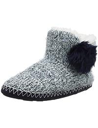 Totes Ladies Sequin Hairy Boot Slippers, Botas de Estar por casa para Mujer