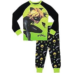 Miraculous Ladybug - Pijama para Niños - Cat Noir - Ajuste Ceñido - 7 - 8 Años