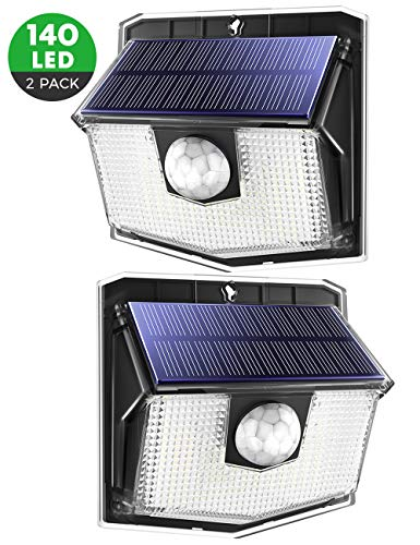 Mpow 140 LED Lampe Solaire Extérieur Puissante Étanche IPX7 Lumière Sécurité de Détecteur de Mouvement PIR Sensible à Grand Angle 270° en Appliquée Mur Cour Terrasse Entrée Parking Allé Patio (2Pack)