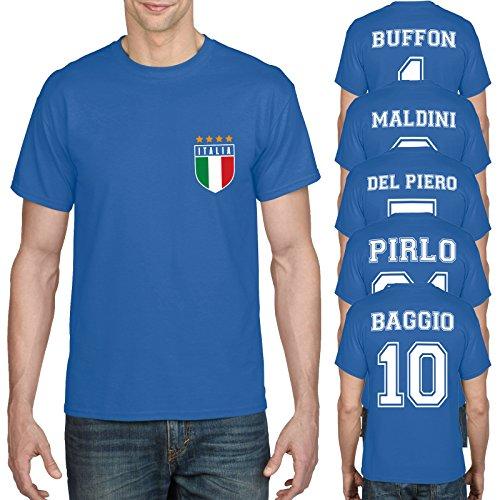 Retro Italy Football Shirt Baggio Buffon Del Piero Maldini Cotton T-Shirt 897