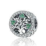 Inbeaut - Abalorio de plata de ley 925 con diseño de árbol de la vida, para mujer, pulsera, accesorios de joyería