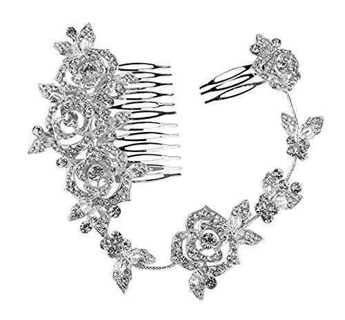 PIXNOR Da sposa cristallo strass capelli pettine