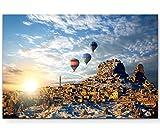 Eau Zone Wandbild auf Leinwand 120x80cm bunte Heißluftballons über Kappadokien