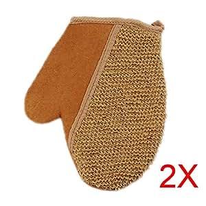 Hrph 2pcs gants de toilette gants exfoliants en lin eponge naturel gants de douche scrubber - Gant de toilette exfoliant ...