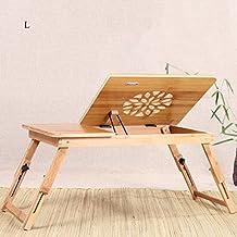 ERRU-mesa de ordenador portátil Tablas de bambú del ordenador portátil / uso en la cama plegable Mesa perezosa del escritorio de la computadora / estudio simple Pequeña tabla del libro / objeto del dormitorio tablas de la computadora portátil ( Color : W )