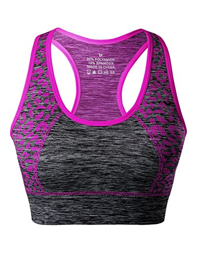 Match Damen Drahtloses Gepolsterte Racerback Sport-BH fuer Yoga Workout Gym #007 Pflaume