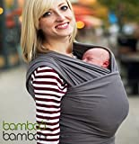 Bamboo Baby Sling Hands-Free Carrier and One-Size-Fits-All Wrap with Matching Carry Bag for Newborns Infants and Toddlers to 35 Lbs (Charcoal Grey)