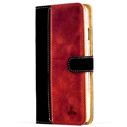Snakehive® Vintage Collection Apple iPhone 6/6S Vintage-Brieftaschen-Etui aus Nubukleder mit Kreditkarten-/ Banknotenfach (Schwarz & Rot)