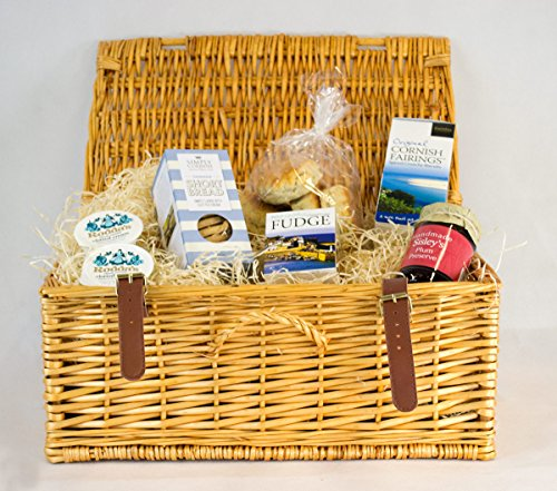 Cornish Cream Tea Hamper With Plum Preserve In A Wicker Hamper