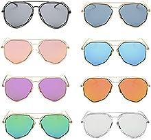 QHGstore Marco met?¢lico unisex espejo plano retro lente de las gafas de sol de aviador en el exterior de la protecci?®n UV400 Eyewear para hombres de las mujeres