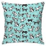 Dogs Pet Dog Hand Drawn Sweet Cute Kawaii Funny Dog Paw Print Dog Flannel Decorative Square Pillow Cushion Cover Sofa Home Decor Modern 18 X 18 inch(45 X 45 cm