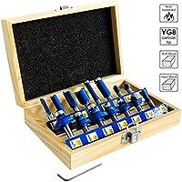 S&R Fräser-Set HM, Schaft 8mm, Holzkoffer, geschmiedeter Werkzeugstahl, Schneideplatten aus HM in Holzbox (Set 15-tgl.)