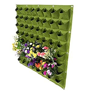 Zerodis 64 Pockets Vertical Planting Bag Wall Hanging Planter Bags Flower Growing Container for Yard Garden Outdoor Decoration(Green)