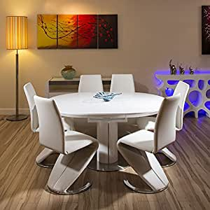 amazon dining room furniture | Modern Dining Set White Gloss Round/Oval Extending Table+6 ...