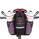 Satteltasche mit Flaschenhalter Fahrrad Sattelstütze Tasche Getränkehalter für Mountainbike MTB Groß Kapazitäten Wasserdicht Schwarz