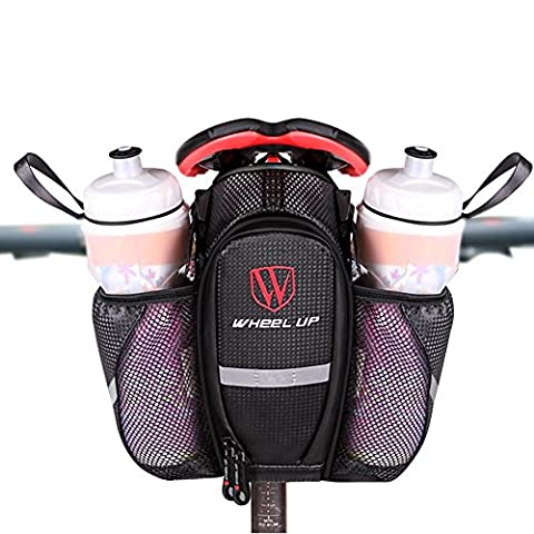 Saddle Bag Bike Bicycle Saddle Bags with Water Bottle Holder for Mountain Bike Road Bike Waterproof Large Black Can Hang Taillights