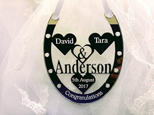 Classic Accessories personalisierbar Hochzeit Tag Pferd Schuh Geschenk Silber gespiegelt Herr und Frau Anderson Familienname Design 3 (Schuhe Anderson Herren)