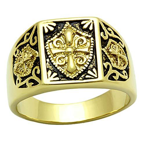 ISADY - Alexandre - 585er 14K Gold platiert - Email schwarz - Franc-maçonnerie - Freimaurer -Tempelritterorden - Franc-maçons - T 58 (18.5) - Diamant Freimaurer Ringe