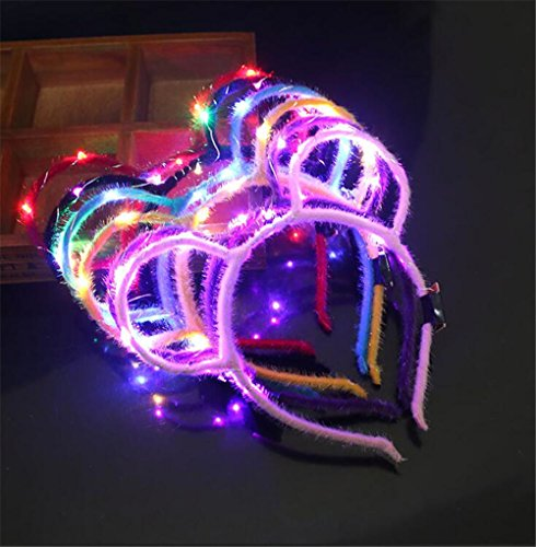 et Party Cosplay Kostüm Stirnband Multi-Color LED Katze Tier Ohr Blinkt Haarbänder Kopfschmuck glühend Party Supplies Haarband (Style 3) ()