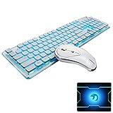 UrChoiceLtd Ensemble clavier / souris sans fil rechargeable résistant à l'eau, souris blanche / bleue rétro-éclairée et sans fil 2,4 GHz, avec récepteur Nano USB pour ordinateur portable Mac (blanc)