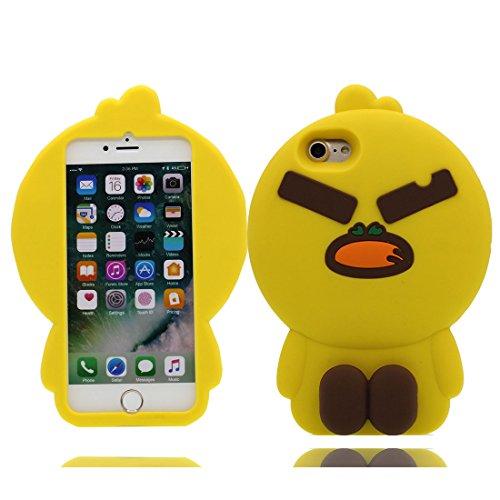 iPhone 7 Plus copertura,iPhone 7 Plus Case,Cassa molle del silicone molle della cassa dell cactus Fiore del fumetto 3D per il iPhone 7 Plus 5.5inch giallo