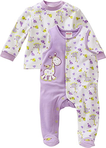 Schnizler Unisex Baby Strampler Set, Giraffe, 2 - tlg. mit Langarmshirt, Oeko - Tex Standard 100, Gr. 62, Violett (lila 19)