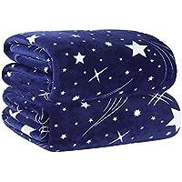 ShineMoon Manta suave y ligera, diseño de estrellas, forro polar, para cama o sofá, tamaño grande