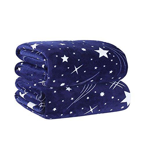ShineMoon Kuscheldecke / Überwurf, super weich, leicht, Sternen-Muster, Dunkelblau, Flanell-Fleece (Thermal-baby-decke)
