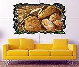 3D Wandtattoo Brot Brötchen Korn Körner Küche essen selbstklebend Wandbild Tattoo Wohnzimmer Wand Aufkleber 11M1674, Wandbild Größe F:ca. 162cmx97cm