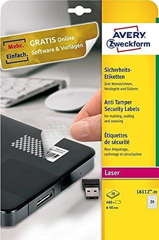 Avery Zweckform L6112-20 Sicherheits-Etiketten (A4, 480 Stück, Ø 40 mm) 20 Blatt weiß