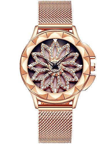 Armbanduhr Damen schwarz Gold Uhr Damen Blumen damenuhr goldfarben Uhren für Damen Gold Silber Rose Armbanduhr Roségold Armband mit Drehendes Diamant Zifferblatt Uhren Damen Strass