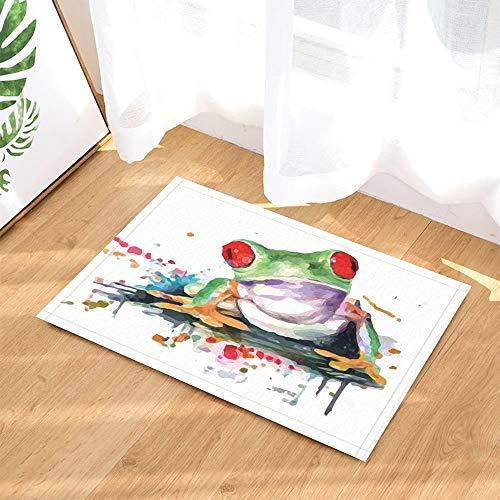 on gohebe niedlicher Watercolor Frosch Rutschfeste Fußmatte Boden Eingänge Innen vorne Fußmatte Badezimmer Teppiche Badematte Memory Foam Kinder 39,9x 59,4cm ()