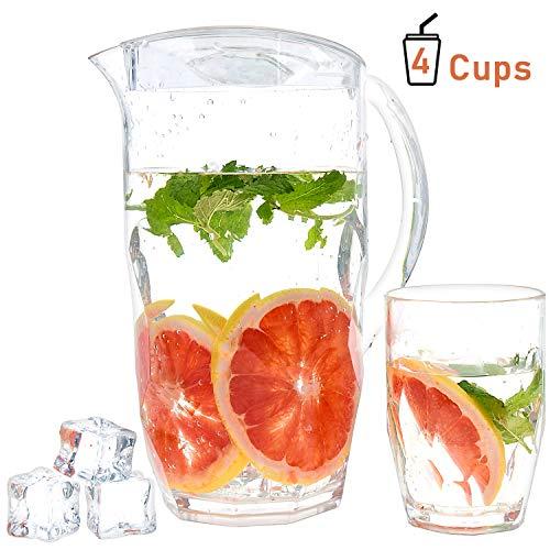 Ulinek 2.1L Wasserkanne mit 4 Tassen Glaskrug mit Filter -MS Matrial-Europäischer CE & LFGB-Standard