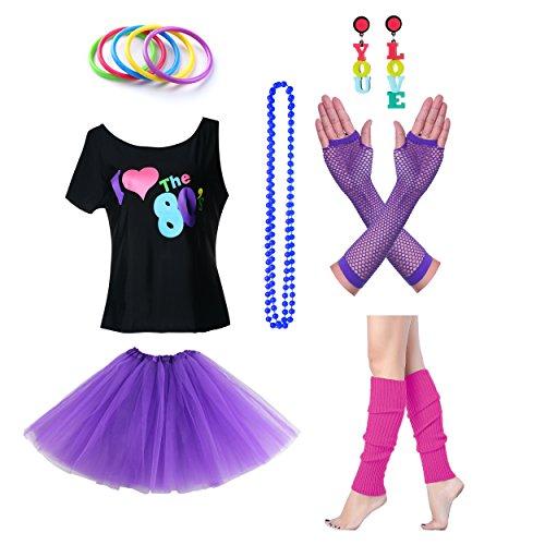 Fun Daisy Clothing Damen I Love The 80er Jahre T-Shirt 80er Jahre Outfit Zubehör (1980's Kostüm Zubehör)