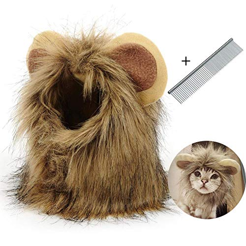 799a2792f89 H.Yue Dog Lion Mane,Funny Lion Mane for Dogs with Pet Steel Comb,Dog Lion  Hair for Halloween Christmas,Lion Wig Suitable for Medium to Large Sized ...