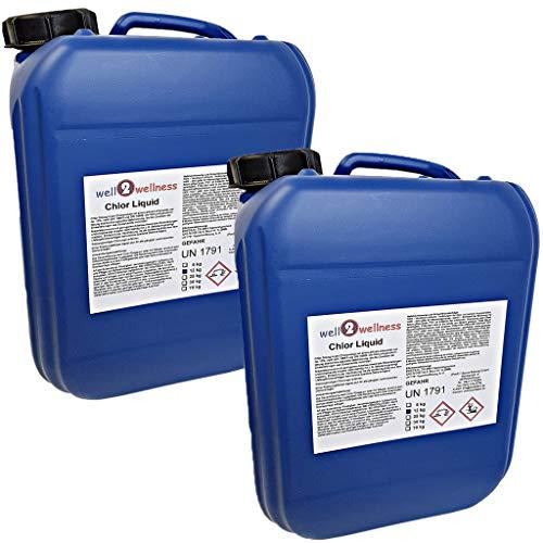 well2wellness Chlor flüssig stabilisiert/stabilisierte Chlorbleichlauge - 2 x 12 kg Kanister